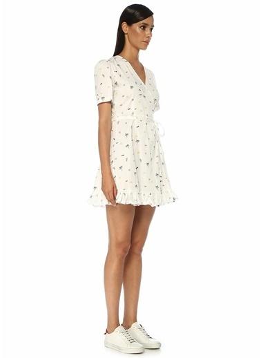 Beymen Club Beymen Club  V Yaka Desenli Mini Anvelop Elbise 101516295 Beyaz